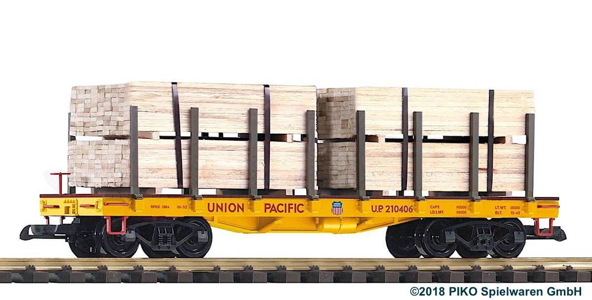 Union Pacific Rungenwagen mit Holzladung (Flat car with lumber load) 210406
