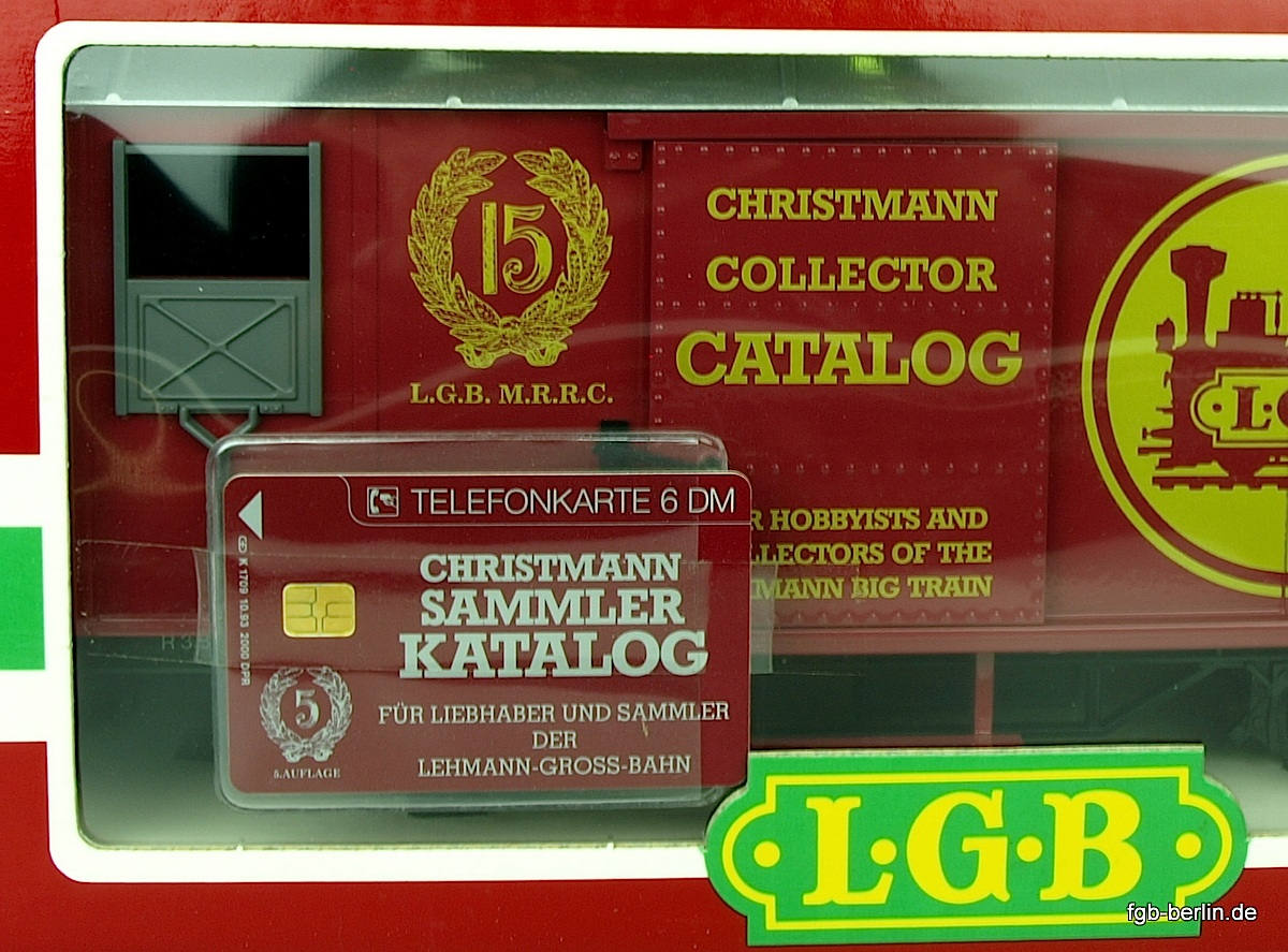 15. Jahrestag LGB MRRC Güterwagen Verpackung mit Telefonkarte (15th Anniversary LGB MRRC box car packaging with telephone card)