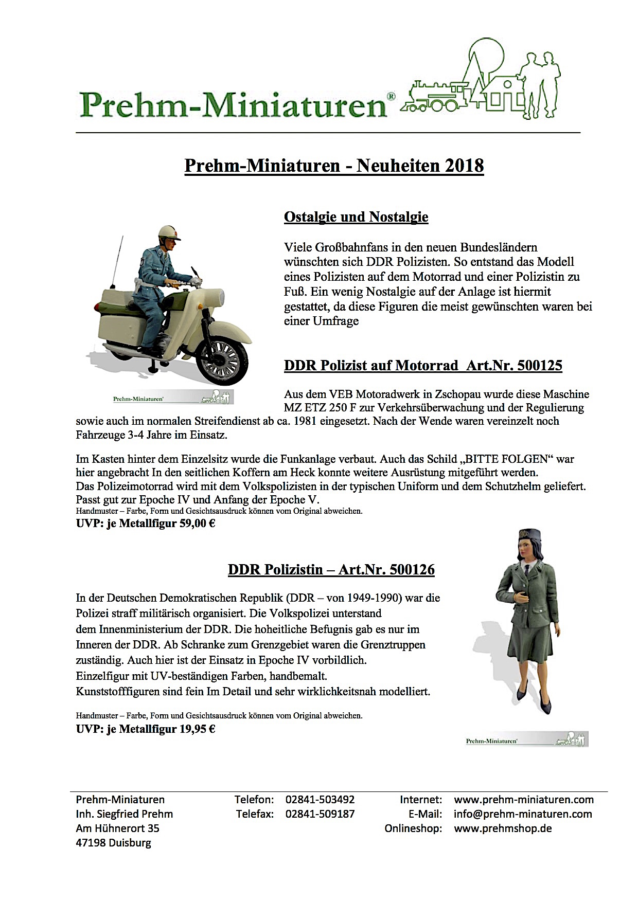 Prehm Miniaturen Neuheiten (New Items) 2018