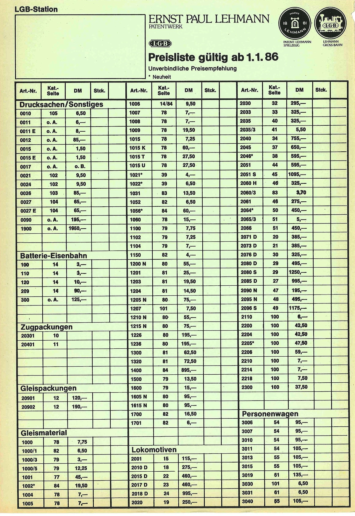 LGB Preisliste (Price list) 1986