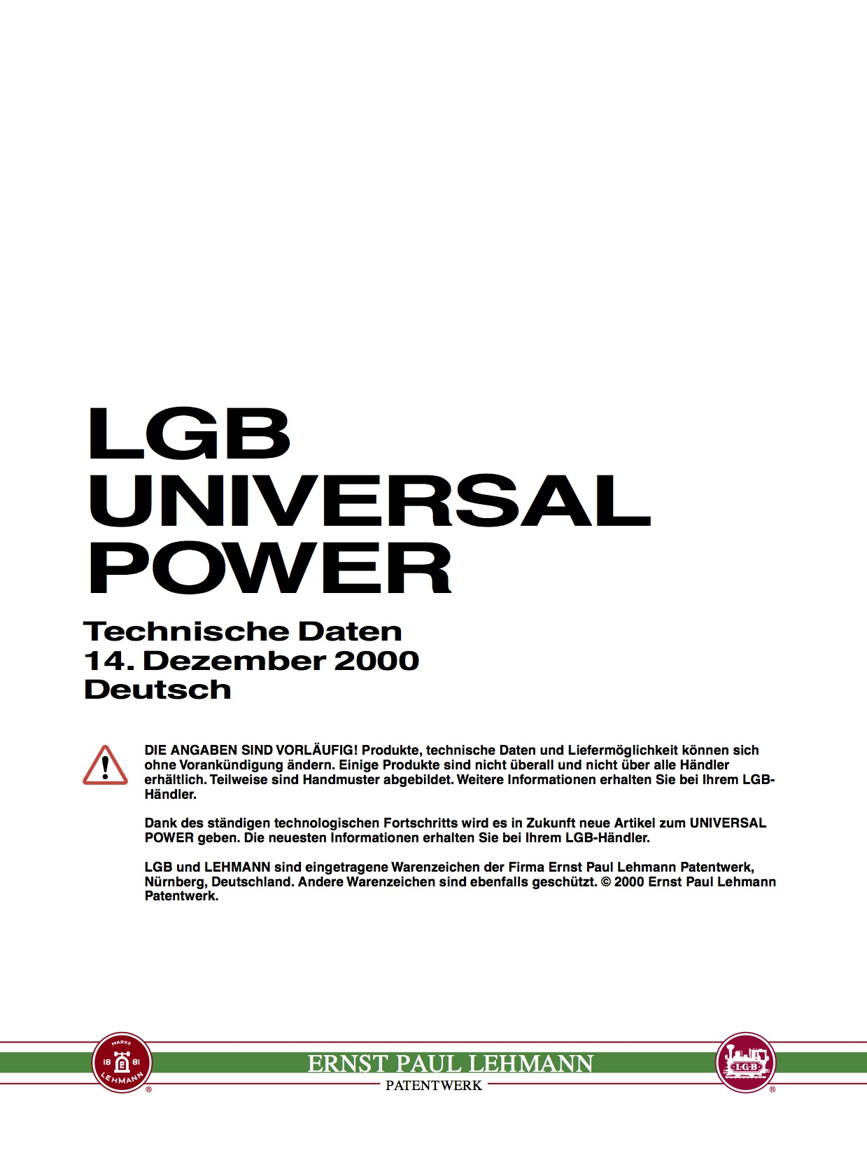 LGB White Paper 2000 - Universal Power, Deutsch