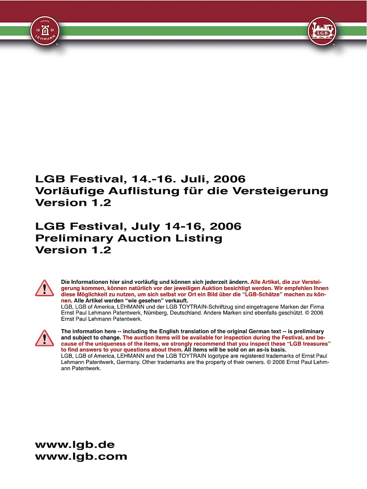 LGB Auktions-Auflistung, Juli 2006 (Auction listing July 2006)