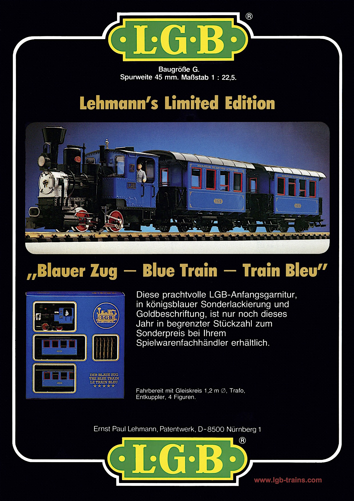 LGB Broschüre (Flyer) 1983 - Blauer Zug (Blue Train)