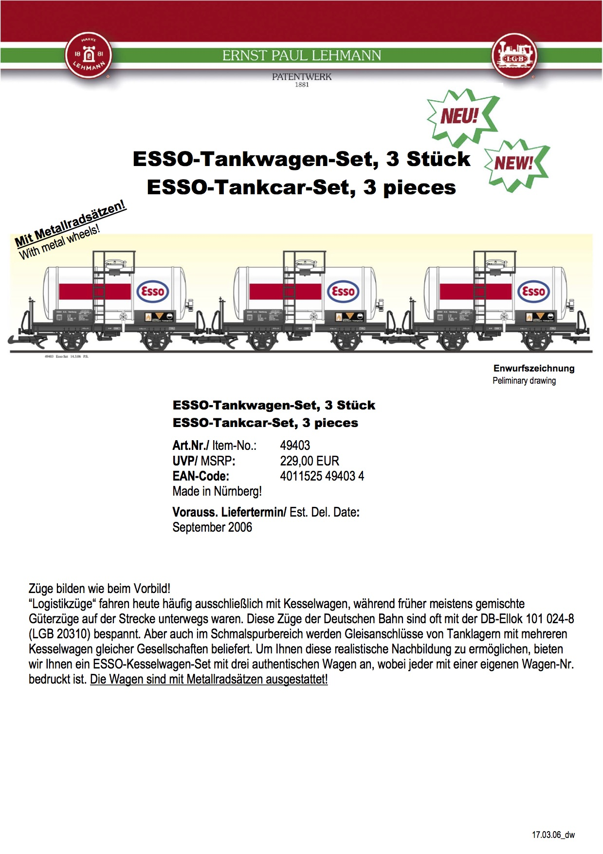 LGB Infoblatt (Information flyer) 2006 - Item 49403 Esso Tankwagen-Set (Tank Car Set)