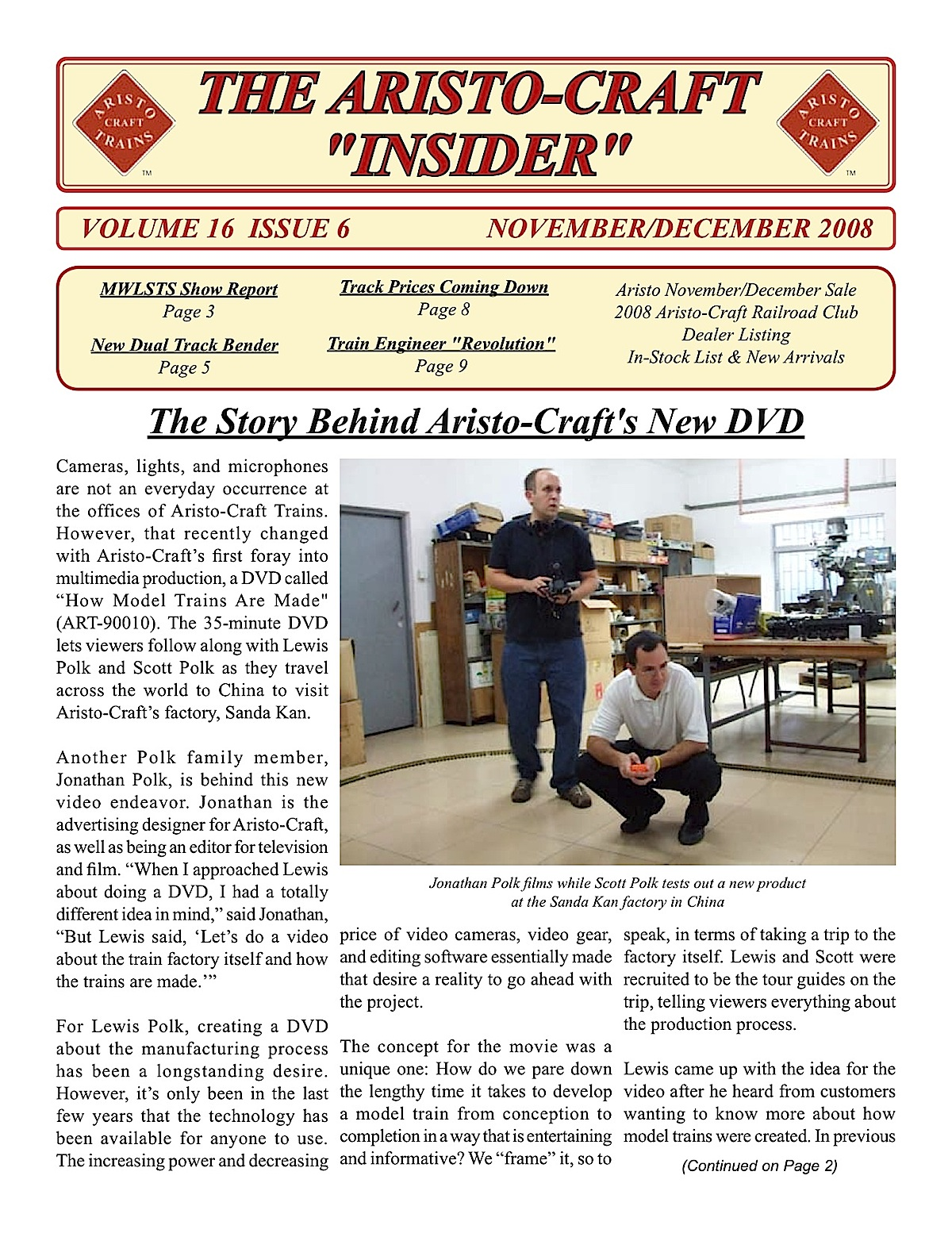 Aristocraft Insider - 2008, Iss. 6 (Nov/Dec)