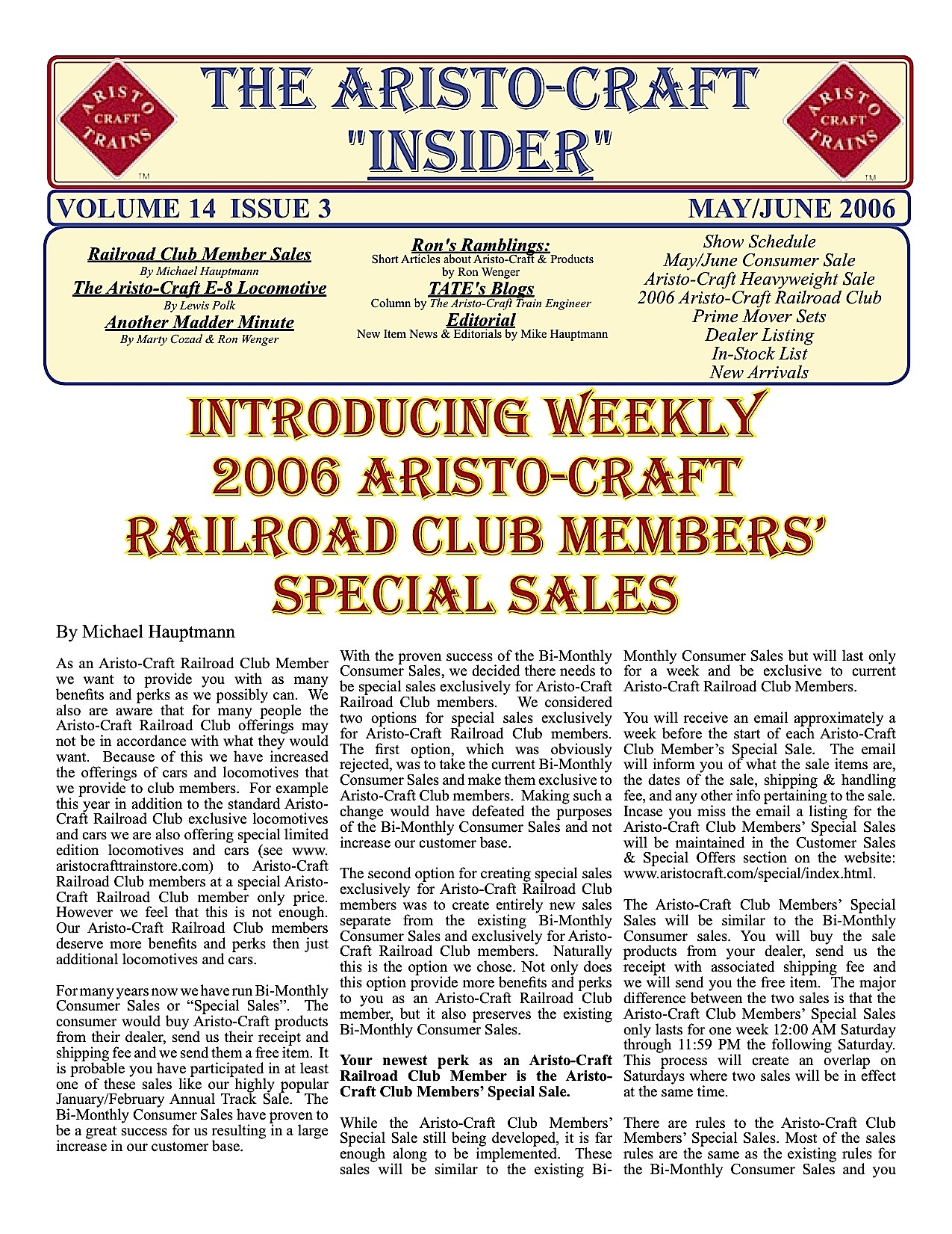 Aristocraft Insider - 2006, Iss. 3 (May/June)