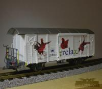 RhB Werbewagen 'Relax' (RhB Boxcar with Relax advertising)
