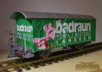 RhB Werbewagen 'Badraun' (RhB Boxcar with Badraun advertising)