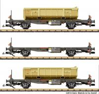 RhB Wagenset mit Abraummulden (Flat car set with waste material hoppers)
