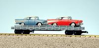 NYC Flachwagen mit zwei '57 Chevies (Flat car with two '57 Chevies) 20065