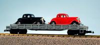 PRR Flachwagen mit 2 Ford Coupé Street Rods (Flat car with 2 Ford Coupé Street Rods) 336392