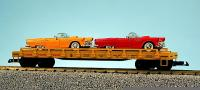 Union Pacific Flachwagen mit 2 '57 Ford T-Birds (Flat car with 2 '57 Ford T-Birds) 666502