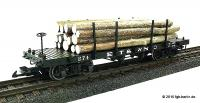 ET$WNC Flachwagen mit Echtholzladung (Flat car with load of real wood) 274