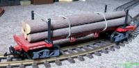 Stammholzwagen rot/braun (Log car red/brown)