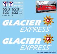 "RhB Ge 4/4 II E-Loco 623 ""Glacier Express"", Beschriftungsset (Labeling Set)"