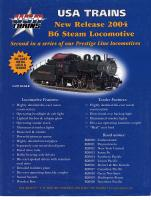 USA Trains Broschüre (Flyer) B6 Dampflok (Steam Locomotive)