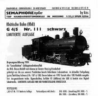Semaphore Neuheit - RhB Dampflok (Steam locomotive) G 4/5 111