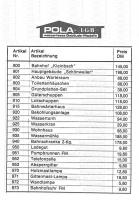 Pola Preisliste (Price list) 1980 in DM