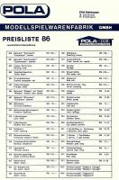 Pola Preisliste (Price list) 1986 in DM