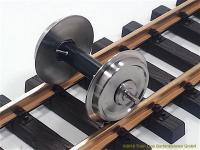 Train Line Kugellagerachsen mit Stromabnahme (Ball bearing wheels with power pickup), 30 mm